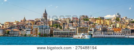 Coast In Istanbul, Turkey. Panoramic View Of The Istanbul Waterfront From Golden Horn. Beautiful Cit