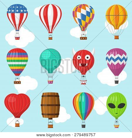 Aerostat Balloon Transport With Basket Set Flying In Sky, Cartoon Air-balloon Different Shapes Ballo