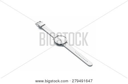 Blank White Lying Watch With Wristlet Mockup, Isolated, 3d Rendering. Empty Timer Bracelet Mock Up,