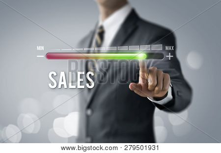 Sales Growth, Increase Sales Or Business Growth Concept. Businessman Is Pulling Up Progress Bar With