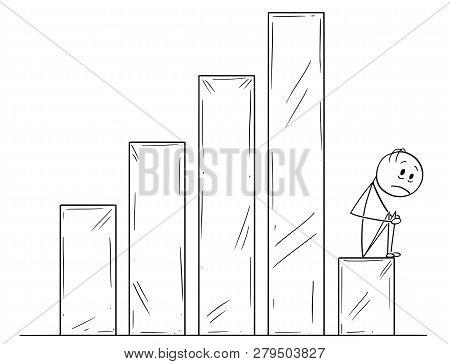 Cartoon Stick Drawing Conceptual Illustration Of Sad Or Depressed Man Or Businessman Sitting On Fall