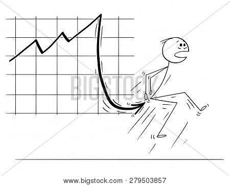 Cartoon Stick Man Drawing Conceptual Illustration Of Businessman Stabbed In Bottom By Falling Financ