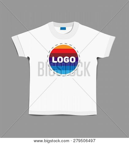 White T-shirt. T-shirt With Logo Lettering. White T-shirt On Grey Background. Branded T-shirt. T-shi