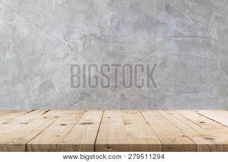 Empty Wooden Table And  Concrete  Wall Texture And Background With Copy Space, Display Montage For P