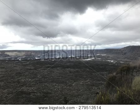 Kilauea Crater At Volcanoes National Park On The Big Island