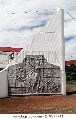 Paramaribo, Suriname - August 6, 2015: Monument Of Surinamese Coup D Etat Of 1980 In Paramaribo, Cap