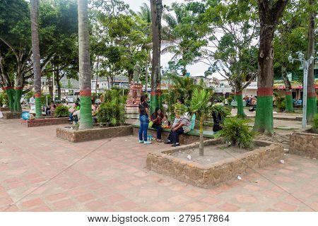 Santa Elena De Uairen, Venezuela - August 12, 2015: Plaza Bolivar Square In Santa Elena Town. Santa