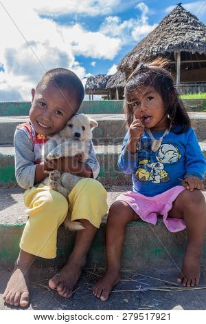 Gran Sabana, Venezuela - August 13, 2015: Indigenous Children In Gran Sabana Region Of Venezuela