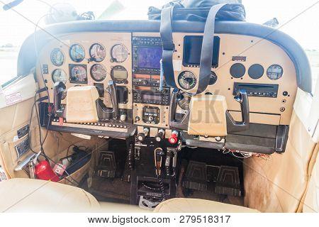 Ciudad Bolivar, Venezuela - August 16, 2015: Cockpit Of A Small Cessna 210 Centurion Airplane At The