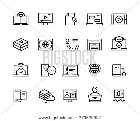 Online Education Line Icons. E-learning Computer Training, Online Distant Education, Laptop Tutorial