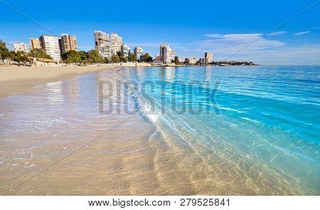 Albufereta beach of Alicante in Costa Blanca of Spain