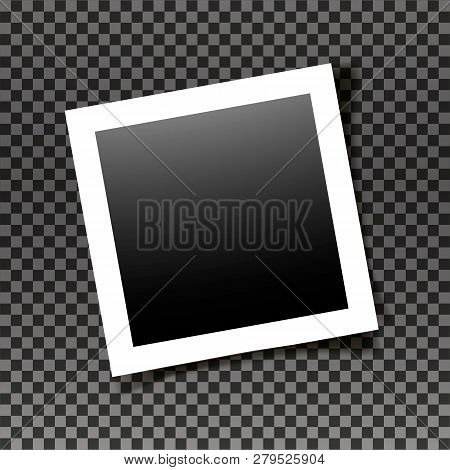 Retro Realistic Square Photo Frame With Figured Edges Isolated On Transparent Background. Vector Pho