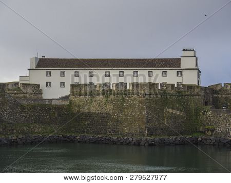 View At Forte De Sao Bras In Ponta Delgada With Historical Fortification Near City Center Square In