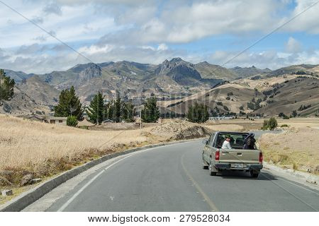 Quilotoa, Ecuador - July 4, 2015: Truck At The Mountain Road Between Zumbahua And Quilotoa Village,
