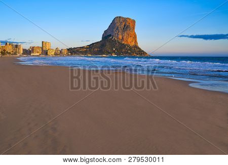 Arenal Bol beach in Calpe also Calp in Alicante of spain at Costa Blanca Arenal-Bol Ifach penon