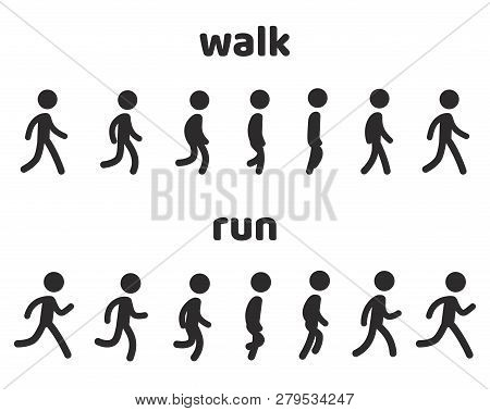 Simple Stick Figure Walk And Run Cycle Animation, 6 Frame Loop. Character Sprite Sheet Vector Illust