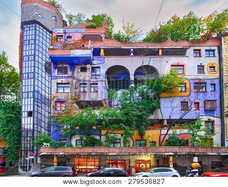 Vienna, Austria - 1 October 2018: Hundertwasser House, Hundertwasserhaus - Apartment House, Idea And