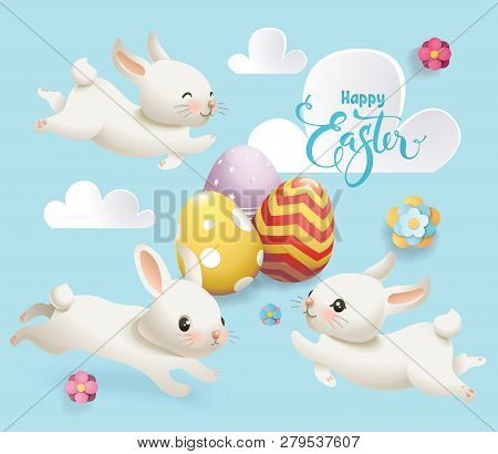 Happy Easter Cute Bunny Egg Vector Banner. Cute White Rabbit, Flower And Cloud On Blue Background Ty
