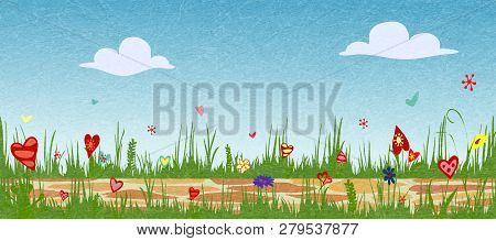 Floral Spring Arrangement From Hearts. Cobbled Path Through Blooming Flower Field. Sunny Summer Comp