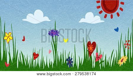 Spring Sunny Meadow. Green Grass With Flowers Against The Sky. The Idyllic Cartoonish Picture Of A W
