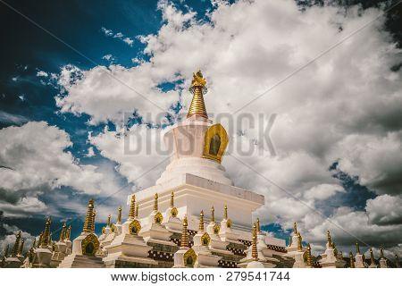 Sichuan Province, China - June 7, 2018: Tibetan Buddhism Chortens (stupas) At Khampa Region, Garzi T