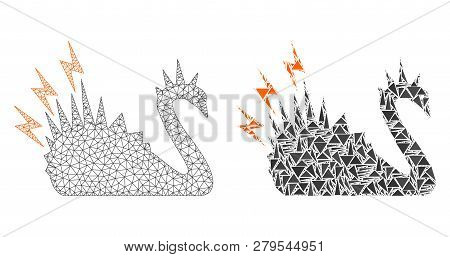 Mesh Vector Black Danger Swan With Flat Mosaic Icon Isolated On A White Background. Abstract Lines,