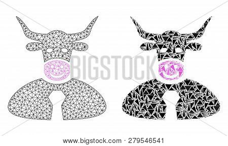 Mesh Vector Bull Boss With Flat Mosaic Icon Isolated On A White Background. Abstract Lines, Triangle