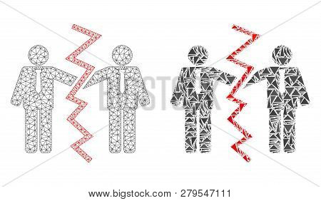 Mesh Vector Businessmen Divorce With Flat Mosaic Icon Isolated On A White Background. Abstract Lines
