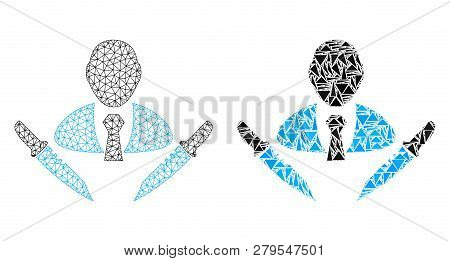 Mesh Vector Butchery Boss With Flat Mosaic Icon Isolated On A White Background. Abstract Lines, Tria