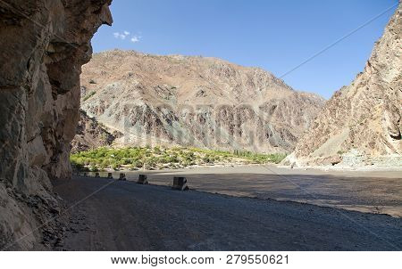 Panj River And Pamir Mountains, Panj Is Upper Part Of Amu Darya River, Panoramic View From Tajikista