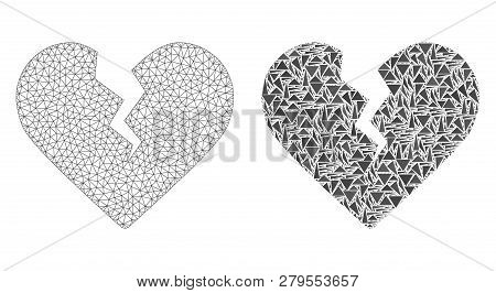 Mesh Vector Divorce Heart With Flat Mosaic Icon Isolated On A White Background. Abstract Lines, Tria