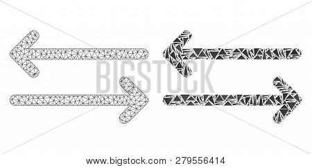 Mesh Vector Flip Arrows Horizontally With Flat Mosaic Icon Isolated On A White Background. Abstract