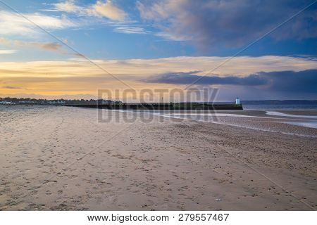 Seaside Town Of Nairn, Near Inverness, Scotland, In Early Evening. Nairn Pier And Harbour Can Be See