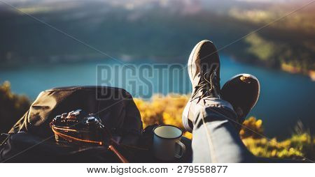 View Trekking Feet Tourist Backpack Photo Camera In Auto On Background Panoramic Landscape Mountain,