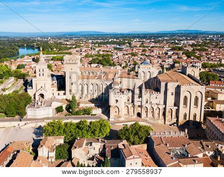 Palace Of The Popes Or Palais Des Papes And Avignon Cathedral Aerial Panoramic View In Avignon City,