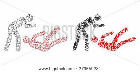 Mesh Vector Judo Struggle With Flat Mosaic Icon Isolated On A White Background. Abstract Lines, Tria