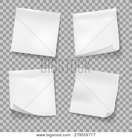 Post Sticky Notes. White Memo Reminder Papers Isolated Vector, Business Office Blank Paper Note Stic