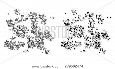Mesh Vector Particle Swarm With Flat Mosaic Icon Isolated On A White Background. Abstract Lines, Tri
