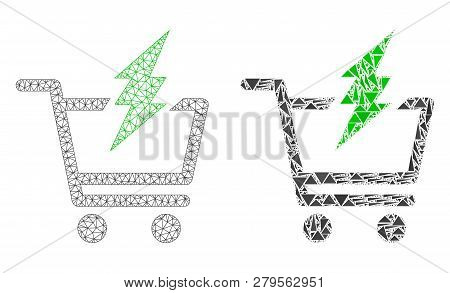 Mesh Vector Proceed Purchase With Flat Mosaic Icon Isolated On A White Background. Abstract Lines, T