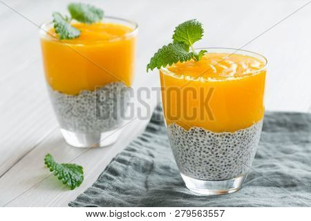 Chia Seeds Pudding With Mango Puree. Healthy Breakfast. Sweet Healthy Dessert.