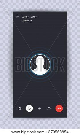 Skype Call Screen Template. Mobile Skype Layout, Mockup Skype. Ui,ux,kit Interface. Call Screen Smar