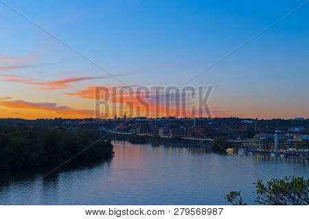 Bright Autumn Sunset Over Georgetown Waterfront In Washington Dc, Usa. Urban Us Capital Panorama Alo