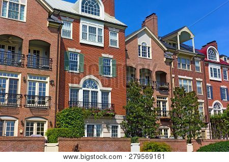 Modern Townhouses At Old Town Alexandria Waterfront In Virginia, Usa. Highly Sought After Residentia