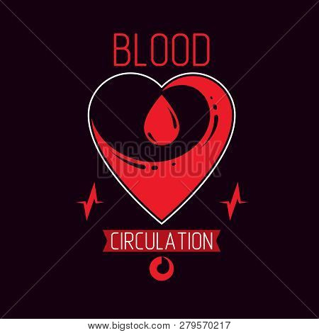 Vector Illustration Of Heart Shape Full Of Red Blood. Cardiology Conceptual Emblem Made With Pulsati