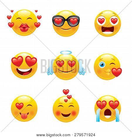 Love Emoji Icon Set. 3d Happy Sad Face Smile Symbol Kiss, Angel, Crying, Sunglasses, Tongue, Laugh.