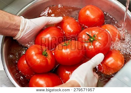 Rinsing tomatoes in water in metal bowl. Chef hands washing pile of tomatoes in water. poster