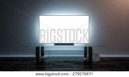 Blank White Tv Screen Interior In Darkness Mockup, Front View, 3d Rendering. Empty Telly Plasma Disp