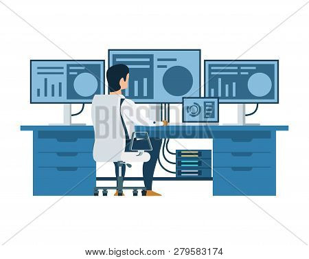Male Engineer Working On Multi Display Computer. Back View Of Character Sitting On Chair. Modern Blu