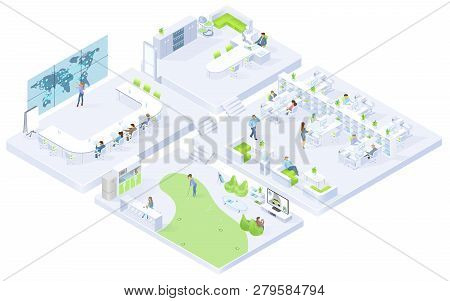Company Office, Coworking Center Clusters Isometric Vector Cross Section Interiors With Boss In Cabi