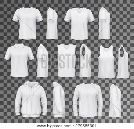 T-shirt Templates, Hoodie And Sweatshirt, Polo And Singlet Or Sleeveless Shirt. Vector Male Clothes